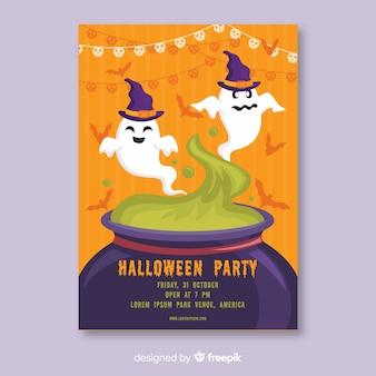 Fantasmas em um cartaz de halloween do caldeirão