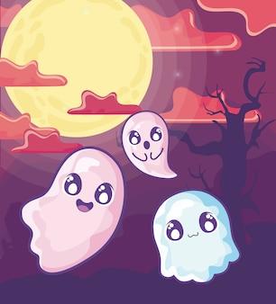 Fantasmas engraçados de halloween na cena de halloween