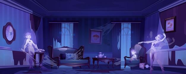 Fantasmas na velha sala de estar abandonada