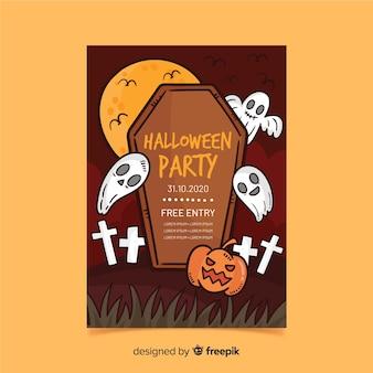Fantasmas no cartaz de festa de halloween do cemitério
