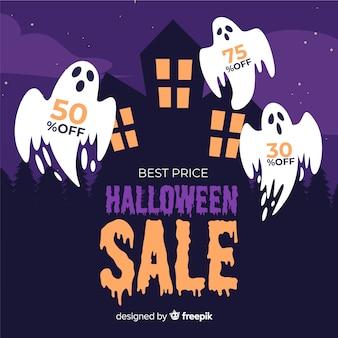 Fantasmas para design plano de venda de halloween