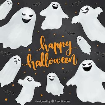 Fantasmas que desejam você um feliz halloween