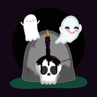 Fantasmas voadores lápide crânio vela dia das bruxas