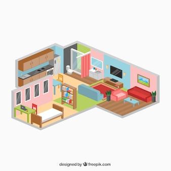 Fantástica casa em design isométrica