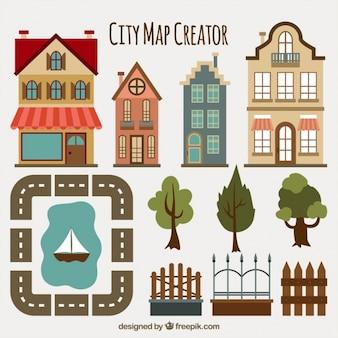 Fantástica coleção de elementos para criar um mapa da cidade