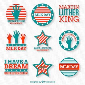 Fantástica colecção de emblemas planos para o dia de martin luther king