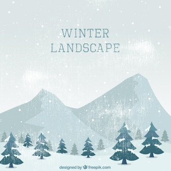 Fantástica paisagem do vintage de árvores e montanhas para o inverno