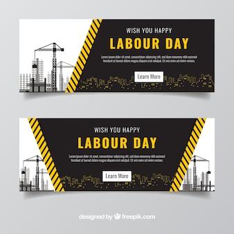 Fantásticas bandeiras do dia do trabalho com construções