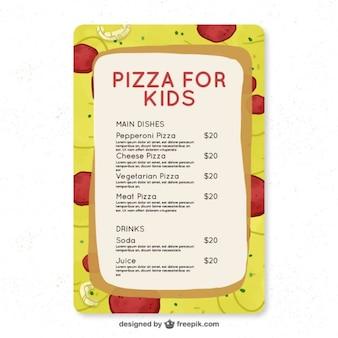 Fantásticas menu para crianças com fundo da pizza