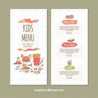 Fantásticas menu para crianças no design plano