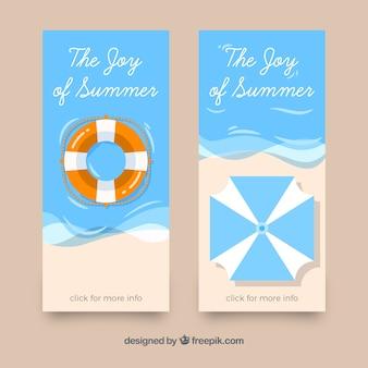 Fantástico banners com guarda-sol e salva-vidas para o verão