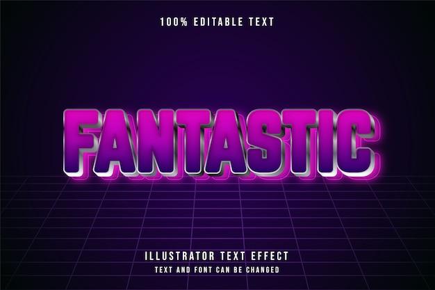 Fantástico, efeito de texto editável em 3d, gradação de rosa e estilo de efeito futurista roxo