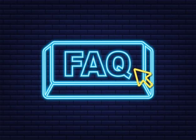Faq com o botão do cursor. ícone de néon da internet. ícone de clique do ponteiro. ilustração em vetor das ações.