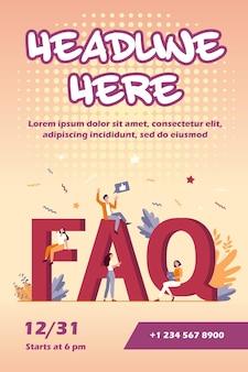 Faq gigante e modelo de flyer para pequenas pessoas