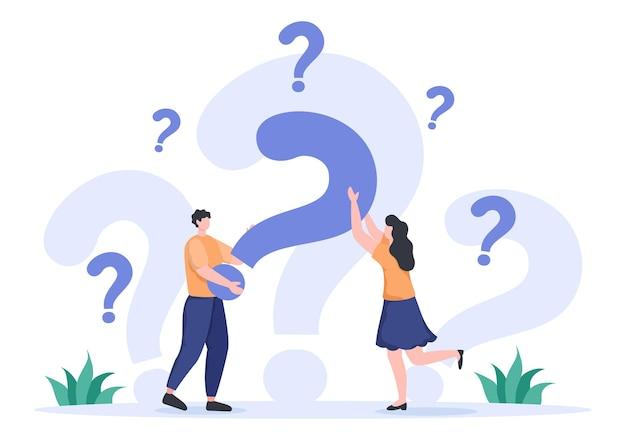 Faq ou perguntas mais frequentes sobre o site, o helpdesk do blogger, a assistência ao cliente, as informações úteis, os guias. ilustração em vetor de fundo