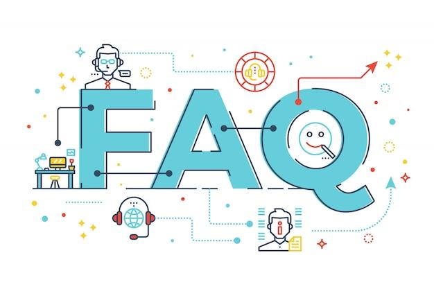 Faq: perguntas mais frequentes palavra letras design ilustração