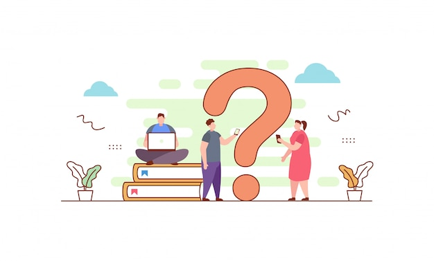 Faq, ponto de interrogação com pessoas em estilo simples