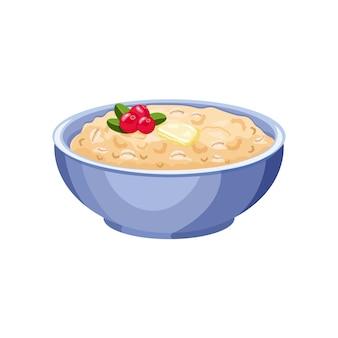 Farinha de aveia em uma tigela azul com cranberries. ilustração em vetor de um café da manhã inglês. alimentação saudável.