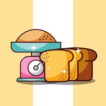 Farinha de panificação cozinha escala e fatia de pão