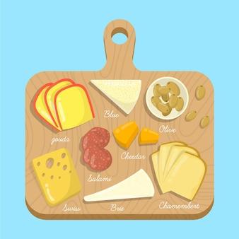 Farinha de queijo na tábua de madeira