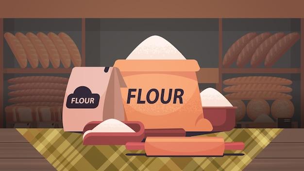 Farinha em sacos de papel cozinhar pão conceito padaria interior ilustração vetorial horizontal isolada