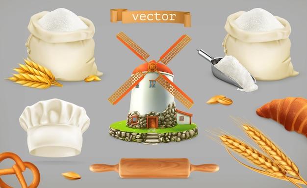 Farinha. moinho, trigo, pão, chapéu de chef.