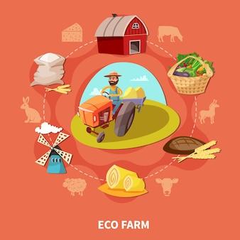 Farm cartoon composição colorida