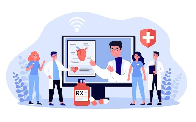 Farmacêutico apresentando novos comprimidos online