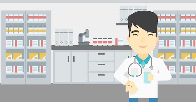 Farmacêutico dando pílulas e copo de água.
