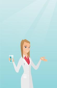 Farmacêutico dando pílulas e um copo de água.