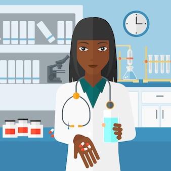 Farmacêutico dando pílulas.