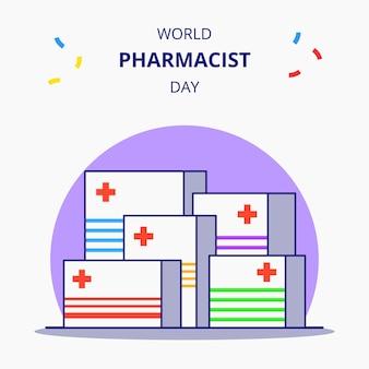 Farmacêutico dia conjunto de ilustração de desenhos animados plana de caixa de medicamentos.
