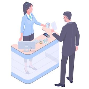 Farmacêutico e paciente em drogaria.