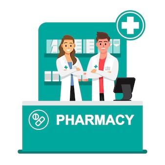 Farmacêutico, farmácia, farmacêuticos estão prontos para dar conselhos sobre o uso de drogas