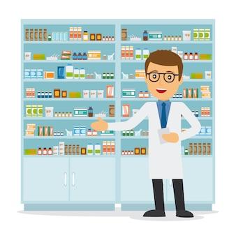 Farmacêutico masculino em uma farmácia