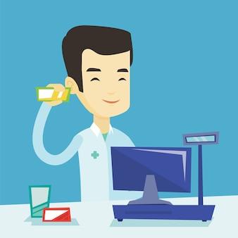 Farmacêutico, mostrando um remédio.