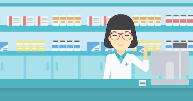 Farmacêutico mostrando um remédio.
