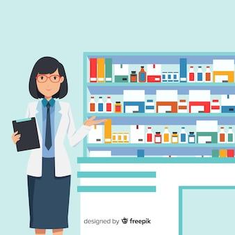 Farmacêutico plano, atendendo clientes fundo