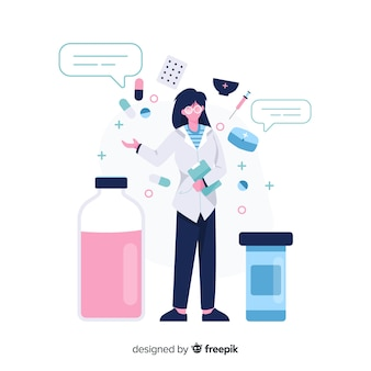 Farmacêutico plano com bolhas do discurso