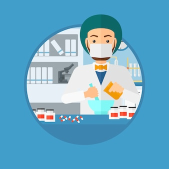 Farmacêutico preparar medicação.