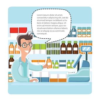 Farmacêutico químico homem na farmácia dando alguns conselhos. vitrines com remédios ao lado dele.