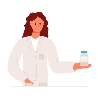 Farmacêutico segurando um pacote de comprimidos