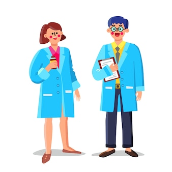 Farmacêutico trabalhadores de laboratório, homem e mulher