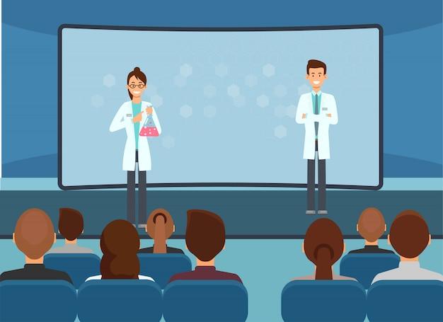 Farmacêuticos conduzem palestra para o público. vetor.