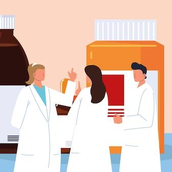 Farmacêuticos equipe médica