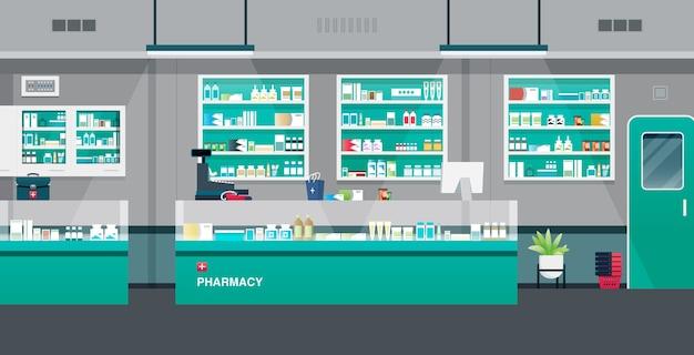Farmácia com caixas registradoras e equipamentos de balcão.