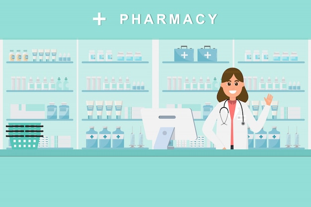 Farmácia com enfermeira no balcão