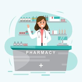 Farmácia com enfermeira