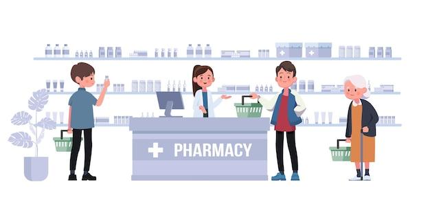 Farmácia com farmacêutico e cliente no balcão. ilustração de personagem de desenho animado de drogaria