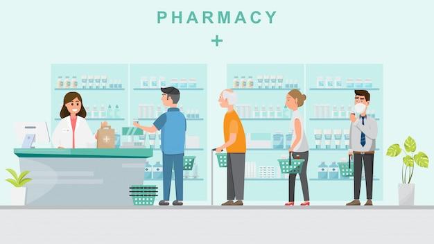 Farmácia com farmacêutico no balcão